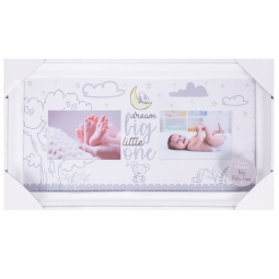 Hugs & Kisses Newborn Baby Keepsake Photo Frame Unisex Holds 2 Photos Dream Big