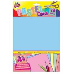 A4 Pastel Coloured Card 15 Sheets, Cards Arts Crafts Blue Yellow Pink