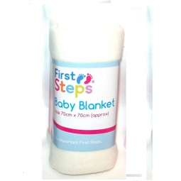 White First Steps Soft Fleece Washable Baby Blanket 70cm x 70cm 0M+