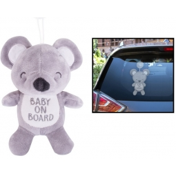 Grey Baby On Board Car Window Sign Teddy Bear With Suction Cup Car Accessory