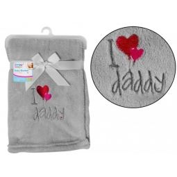 I Love Daddy Supersoft Grey Baby Blanket 75cm x 100cm Fathers Day Cute Blanket