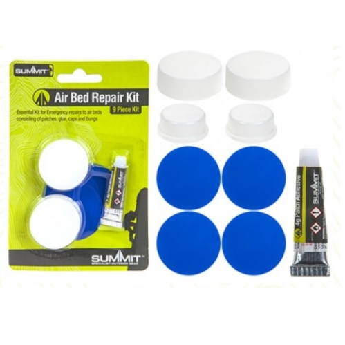 Summit 9 Piece Camping Air Bed Puncture Repair Kit 4 Patches Glue Cap & Bungs