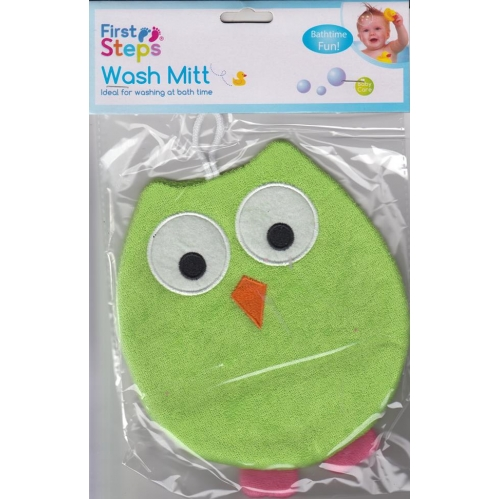 First Steps Cute Owl Adult Use Baby Wash Mitt Sponge Glove Bath Time Green