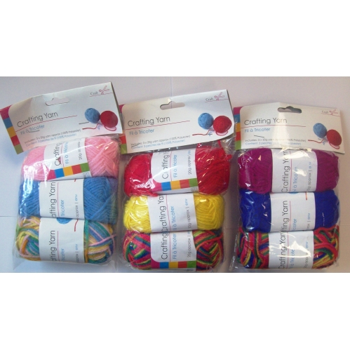 Crafting Yarn Includes 3 x 20g Yarn Approx - Colours Sent At Random