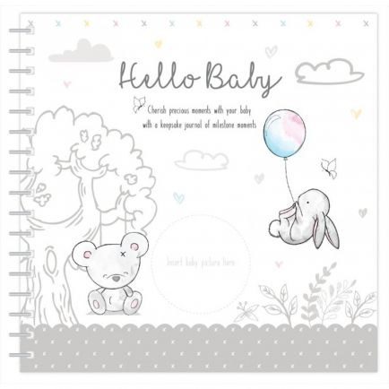 Hugs & Kisses Baby Record Book Neutral Design 22.5x22.5cm Wire Bound