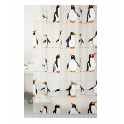 Blue Canyon Peva Rail Ring Shower Curtain 180cm x 180cm Washable Penguin Design