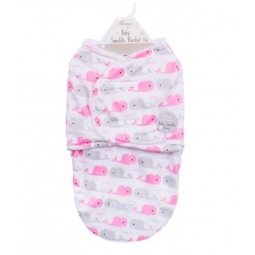 Pink & Grey Cute Whale Super Soft Mink Baby Swaddle Blanket Wrap Newborn