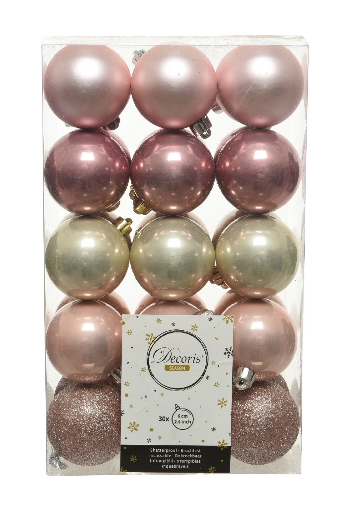 Pack Of 30 Mixed Christmas Tree Baubles Blush Pink Rose Light Gold Mix 60mm Ebay