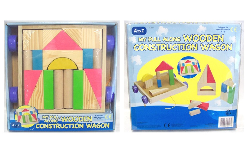 My Pull Along Wooden Construction Wagon Childrens Building Blocks Toy