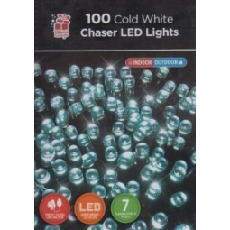Festive Magic 100 Christmas LED Chaser Lights Indoor Outdoor Cool Ice White