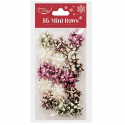 Pack Of 16 Mini Self Adhesive Metallic Gift Bows 2.5cm Blush Pink Rose Gold