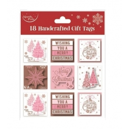 Pack Of 18 Rose Gold Blush Pink Foil Christmas Gift Tags Self Adhesive Labels
