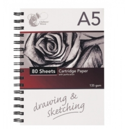 A5 Wiro Artist Sketch Pad Cartridge Paper With Perforation 135gsm 80 Sheets