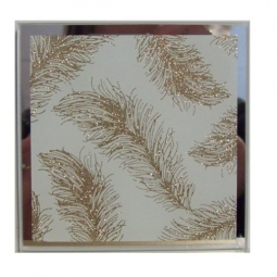 Luxury Square Gold Glitter Feather Candle Mirror Plate 10cm x 10cm