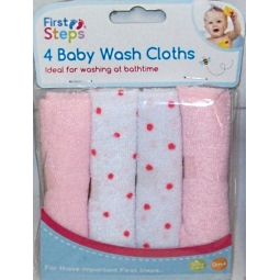 Pack Of 4 Pink Soft Baby Face Wash Cloths Towel Flannel Machine Wash 0 Months +