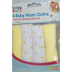 Pack of 4 Yellow Soft Baby Face Wash Cloths Towel Flannel Machine Wash 0 Months+