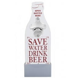 Novelty Wall Mounted Bottle Opener Plaque Fathers Day With Bottle Cap Tray White