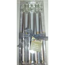Premier Decorations Taper Candles Gift Set of 4 in Silver With 2 Star Shaped Glass Holders