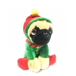 Elf Dressed Cute 20cm Christmas Pug Dog Suited Soft Cuddly Toy Santas Helper