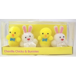 Pack Of 4 Chenille Easter Chicks & Bunnies 2 Chicks 2 Bunnies Easter Decoration