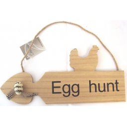 Left Wooden Easter Egg Hunt Game Arrow Plaque Sign With Rope Hanger 30cm x 14cm