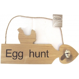 Right Wooden Easter Egg Hunt Game Arrow Plaque Sign With Rope Hanger 30cm x 14cm