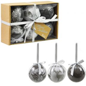 Box Of 6 Luxury Christmas Tree Coupage Baubles Grey & White Reindeer 75mm Round