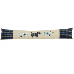 Scotty Dog Draught Excluder Blue & Cream Checked Effect 80cm Long