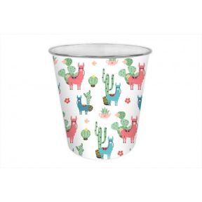 Llama Funky Design Waste Plastic Bin Silver Rim 20x19.5cm For Home or Office