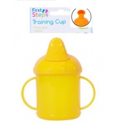 Yellow Toddler Baby Training Sippy Juice Cup 260ml Easy Grip Double Handles