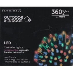 Lumineo Indoor & Outdoor LED Twinkle Christmas Lights 360 LEDs 27M Multi Colour