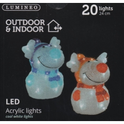 1 x Lumineo Indoor & Outdoor LED Acrylic Christmas Reindeer Light - Red Scarf