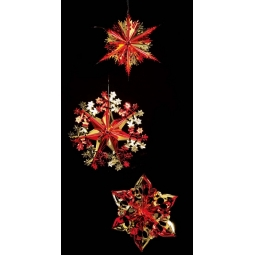 Foil Hanging Christmas Decorations Star Snowflake 40cm Red & Gold