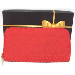 Ladies Fx Leather Long Zip Clutch Purse Multi Compartment Card Holder Snake Red