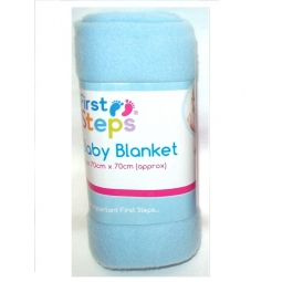 Blue First Steps Soft Fleece Washable Baby Blanket 70cm x 70cm 0M+