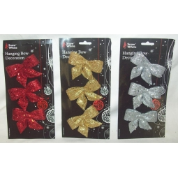 Pack Of Christmas Tree Tie On Glitter Bows Red Silver & Gold 8.5cm x 6cm