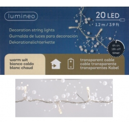 Lumineo Indoor 20 LED's Battery Bead Lights Vintage Garland Warm White 1.2M