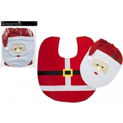 Santa Novelty Character Christmas Toilet Seat Cover & Toilet Floor Mat One Size