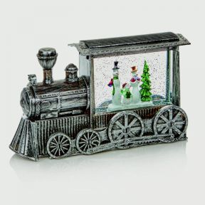Premier Glitter Water Spinner Light Up Christmas Train White LED Snowman Train