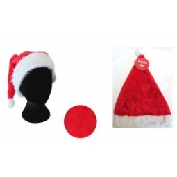 Luxury Velvet Christmas Santa Hat Adult Hat One Size Red Hat With Fur Trim