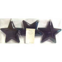 Decoris Pack Of 3 Shatterproof Large Christmas Baubles Star Shape White Iris