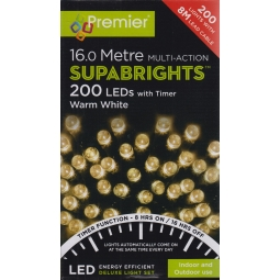 Premier 200 LED Supabrights Christmas Lights With Timer 16M Indoor Outdoor - Warm White