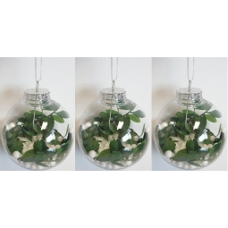Set Of 3 Clear Decorative Shatterproof Christmas Tree Baubles Foliage Branch 8cm