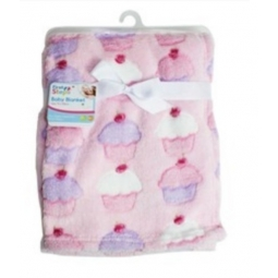 Cupcakes Fleece Baby Blanket Luxury Unisex Soft for Babies Newborn First Steps