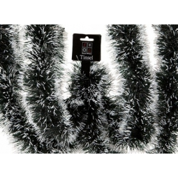 Snowy Tipped Christmas Tinsel Dark Green Black Mix With White Tips 3M x 10cm