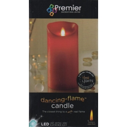 Premier LED Dancing Flame Battery Operated Candle With Timer - Red 18cm