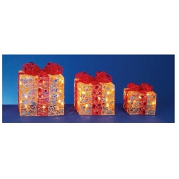Premier Set Of 3 Lit Parcels Gift Boxes Clear Lights Gold With Red Bow Indoor