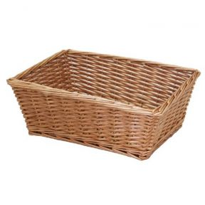 Large Rectangular Tapered Buff Willow Christmas Gift Hamper Wicker Basket 43cm
