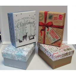 Small Christmas Gift Boxes With Lid Red Blue Christmas Print 8.5 x 11cm