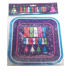 Pack Of 8 Disposable Square Merry Christmas Paper Dinner Party Plates 23cm